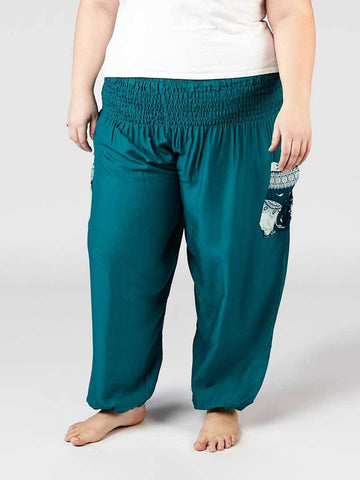 Rombo Teal Plus Size Harem Pants