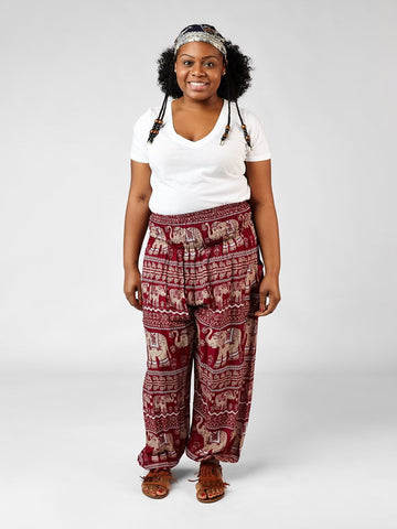 Lenana Plus Size Burgundy Harem Pants