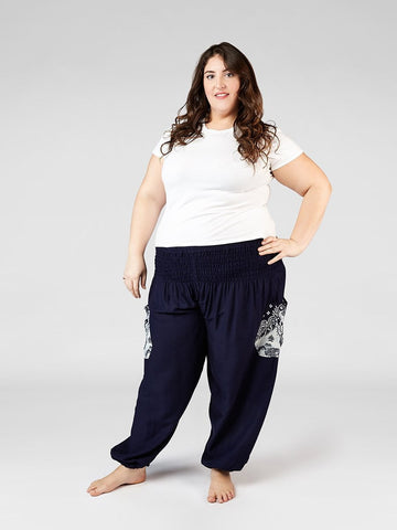 Rombo Navy Plus Size Harem Pants