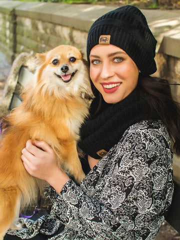 Galana Black Ribbed Knit Beanie Hat