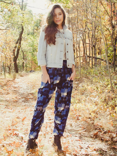 Makena Navy Plaid Elephant Harem Pants