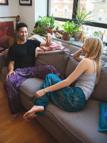 Wendi Purple Unisex Loungers - The Elephant Pants - 1