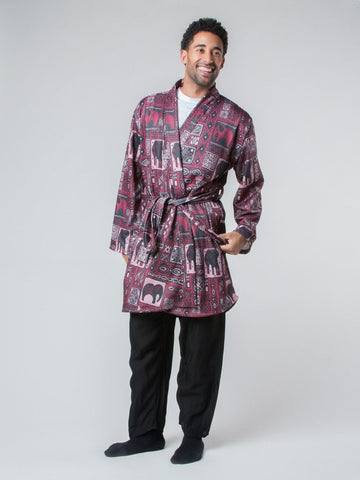 Orok Burgundy Fleece Lined Robe