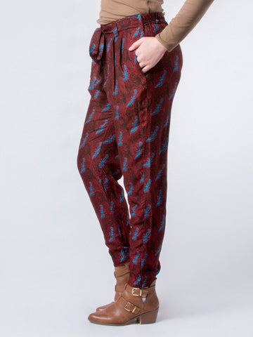 Edie Houndstooth Burgundy Pleated Pants