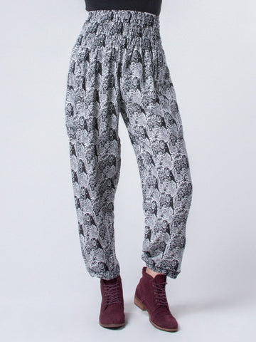 Edie Houndstooth Black and White Harem Pants