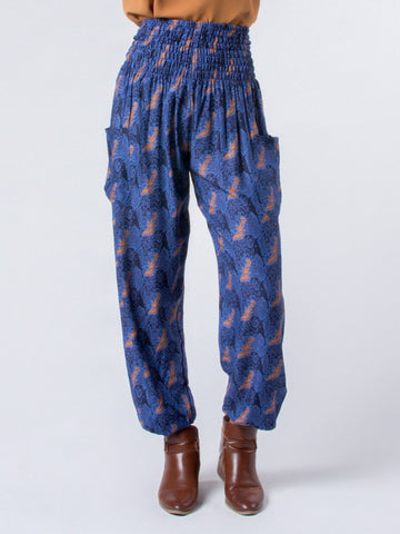 Edie Houndstooth Navy Harem Pants