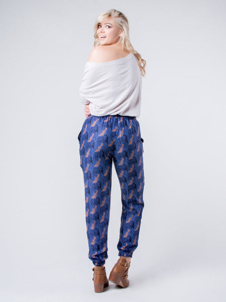 Edie Houndstooth Navy Pleated Pants