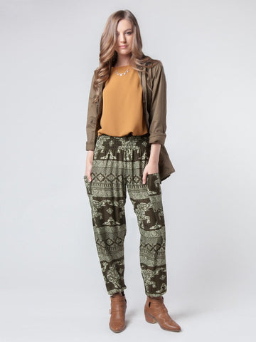 Olare Green Harem Pants