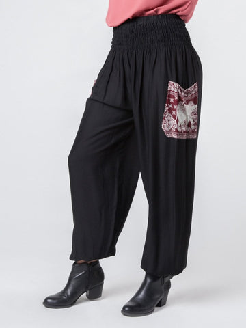 Rombo Black Harem Pants