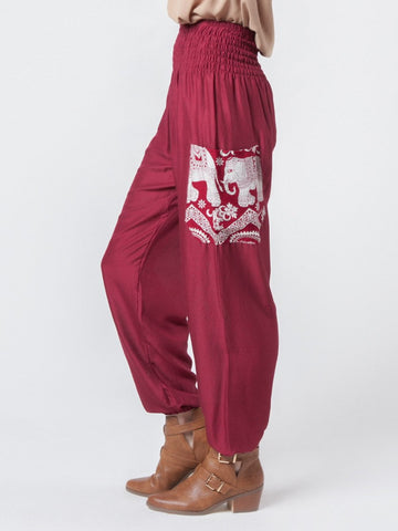 Rombo Red Harem Pants