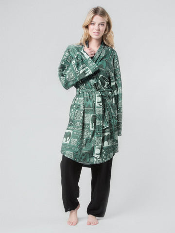 Orok Olive Fleece Lined Robe