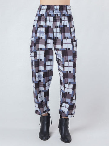 Makena Black Plaid Elephant Harem Pants