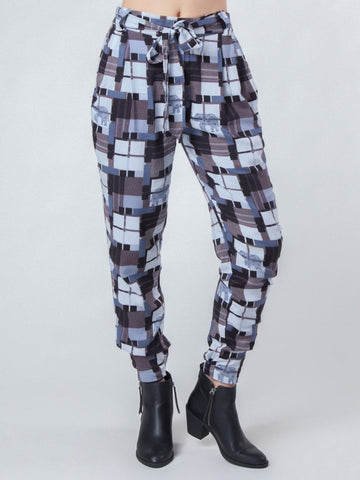 Makena Black Plaid Pleated Elephant Pants