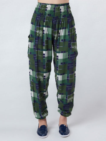 Makena Green Plaid Elephant Harem Pants