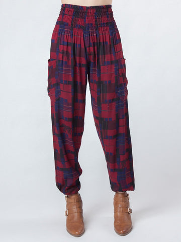 Makena Red Plaid Elephant Harem Pants