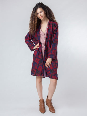 Makena Red Plaid Elephant Duster Kimono