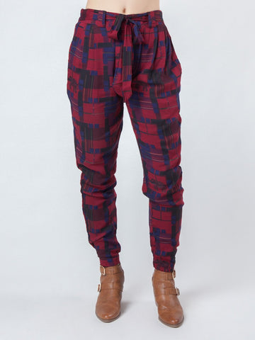 Makena Red Plaid Pleated Pants