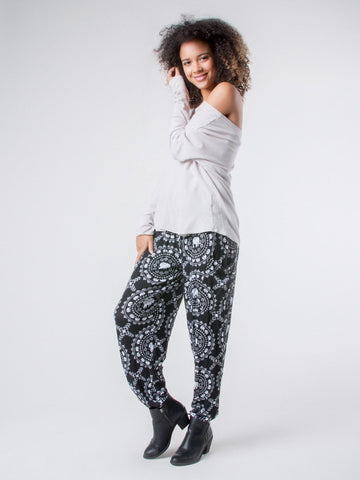 Taru Black Stretch Harem Pants