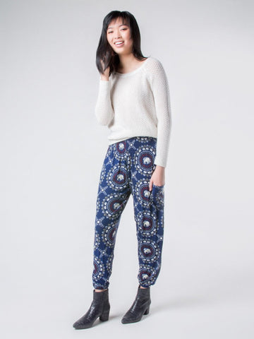 Taru Navy Stretch Harem Pants