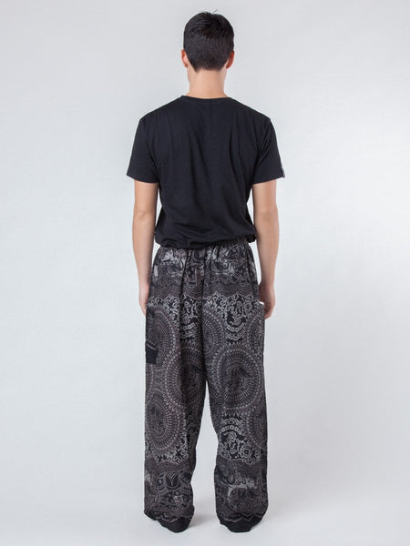 Wendi Black Unisex Elephant Print Lounger Harem Pants - Back Male