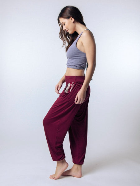 Kihari Burgundy Yoga Pants - The Elephant Pants - 3