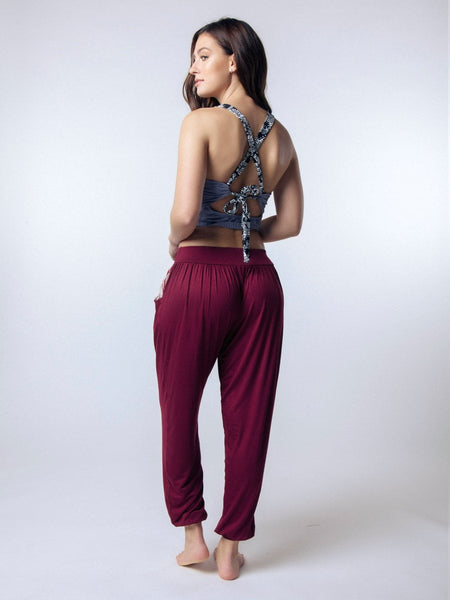 Kihari Burgundy Yoga Pants - The Elephant Pants - 4
