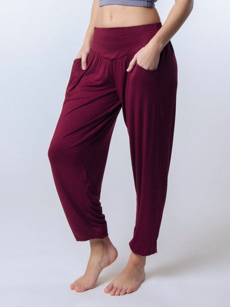 Kihari Burgundy Yoga Pants - The Elephant Pants - 1