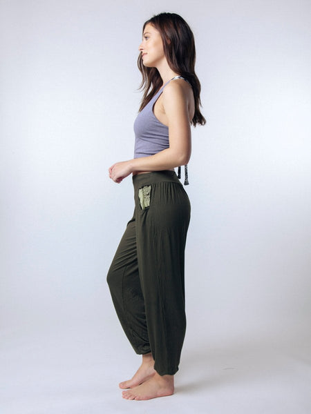 Kihari Olive Yoga Pants - The Elephant Pants - 3