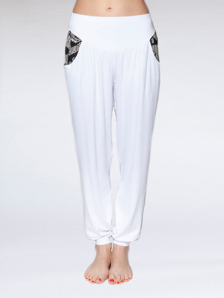 Kihari White Yoga Pants - The Elephant Pants - 1