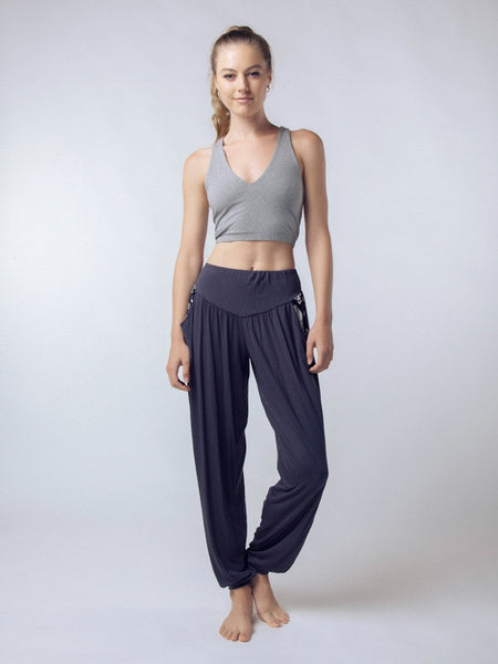 Seree Gray Cross back Yoga Crop Top - The Elephant Pants - 2