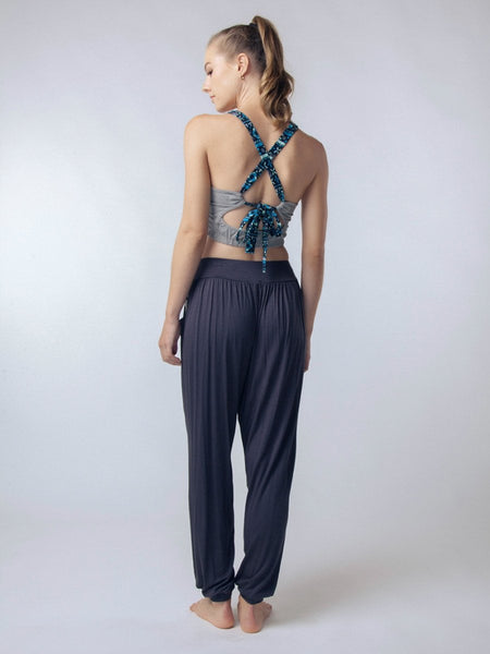 Seree Gray Cross back Yoga Crop Top - The Elephant Pants - 4
