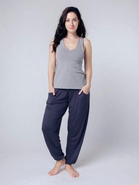 Seree Gray Racerback Yoga Shirt - The Elephant Pants - 2