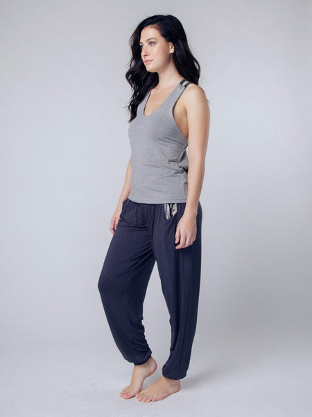 Seree Gray Racerback Yoga Shirt - The Elephant Pants - 4