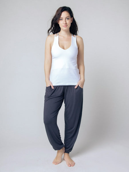 Seree White Racerback Yoga Shirt - The Elephant Pants - 2