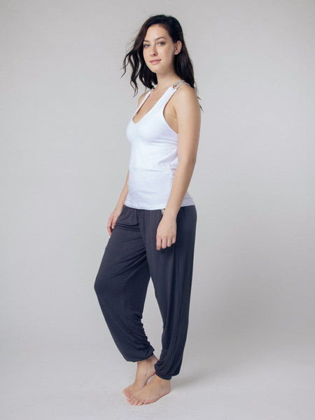 Seree White Racerback Yoga Shirt - The Elephant Pants - 3