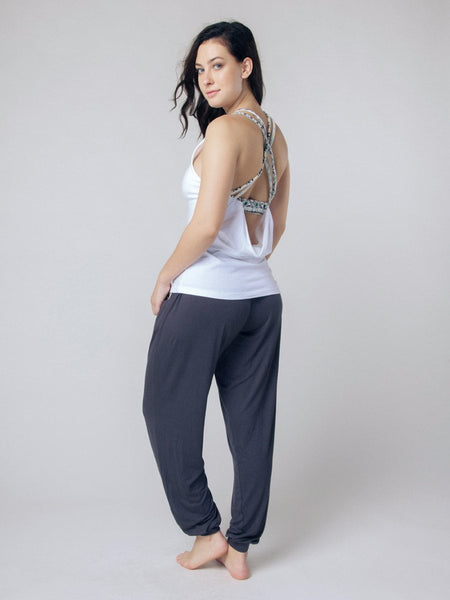 Seree White Racerback Yoga Shirt - The Elephant Pants - 4