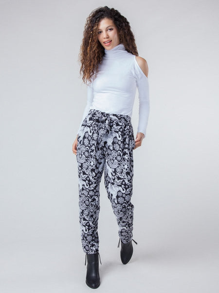 Women's Zurura Black Printed Pleated Buddha Genie Harem Elephant Pants - Front Full