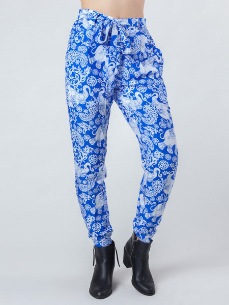 Zurura Royal Blue Pleated Elephant Pants