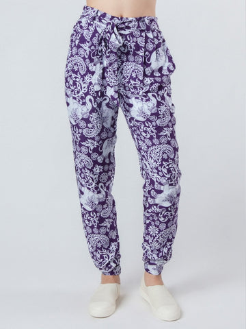 Zurura Purple Pleated Elephant Pants