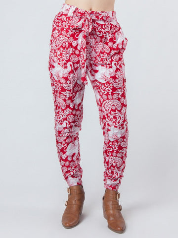 Zurura Red Pleated Elephant Pants