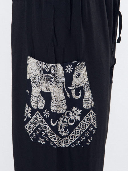 Rombo Black Unisex Loungers - The Elephant Pants - 4