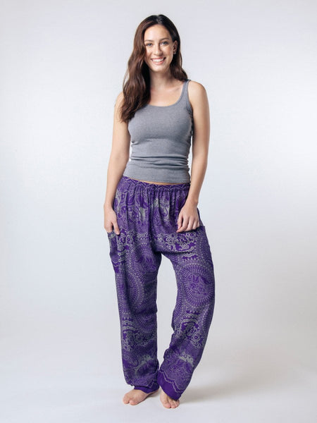 Wendi Purple Unisex Loungers - The Elephant Pants - 2