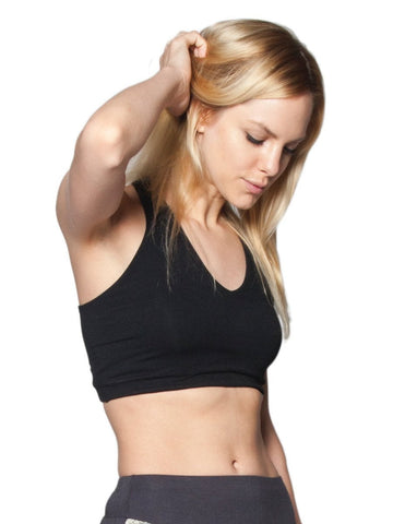 Kihari Black Cross back Yoga Crop Top