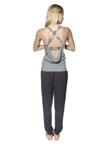Kihari Gray Racerback Yoga Shirt - The Elephant Pants - 5
