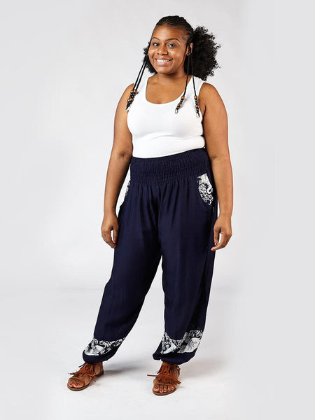 Zurura Navy Two Tone Plus Size Harem Pants