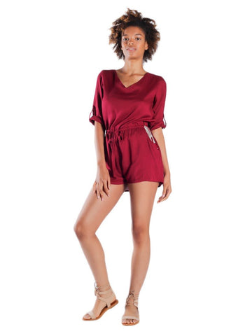 Rombo Red Three Quarter Sleeve Romper