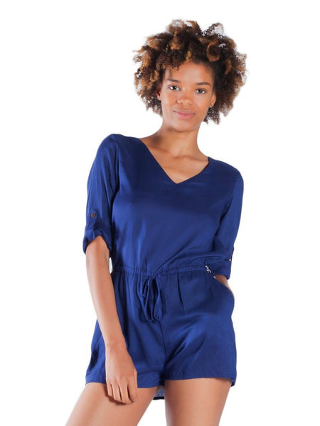 Rombo Blue Three Quarter Sleeve Romper - The Elephant Pants - 1