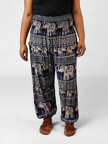 Lenana Navy Plus Size Harem Pants