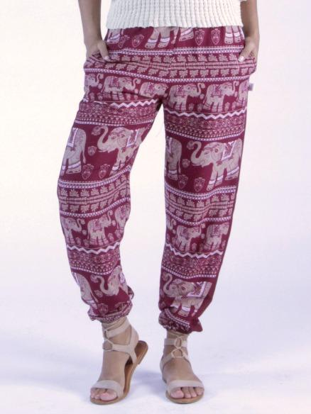 Lenana Burgundy Slim Cut Modern Harem Pants