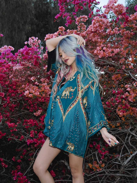 Rapsu Teal Elephant Kimono Cardigan - The Elephant Pants - 1